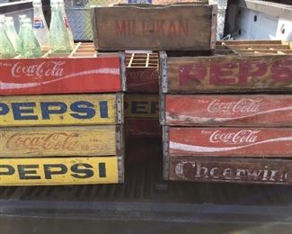 Pepsi coke  cheerwine crates some with dividers