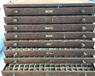 Metal multi drawer jewelers/watch cabinet believe knobs are brass