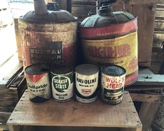 Several oil cans