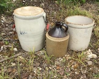 Stoneware jug butter churn stoneware croc