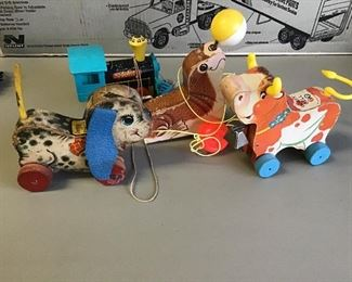 Pull toys good shape cow has tail and bell