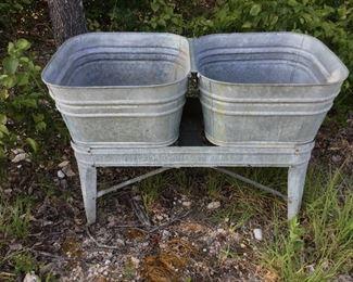 Galvanized double tub wash stand