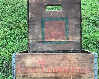 7up box and royal crown drink crate