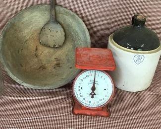 Primitive wooden dough bowl with wooden dough paddle