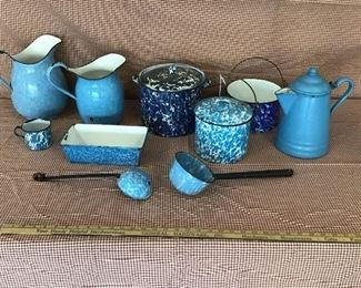 Large selection of hard to find blue swirl enamel ware