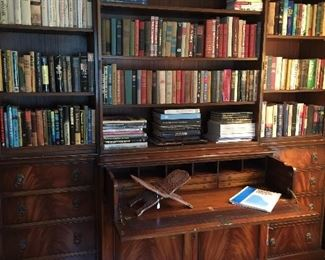 Massive bookcase/hutch with drop front desk area.