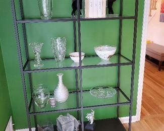 """Pottery Barn Glass & Gun Metal Shelving - 40"""" L X  14"""" W X 69"""" H"""