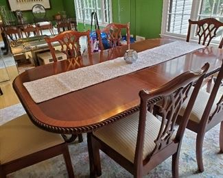 "Quality Mahogany Double Pedestal  Dining Table with8 Chairs, 2 Leaves & Pads- 72"" L X 44"" W X 31""H   & leaves - 18"" each"