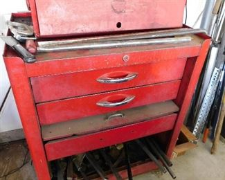 Really old snap-on tool box. But the drawers still function perfectly.  The bottom drawer had at least 100lbs of tools in it. Still opened, did not bend!
