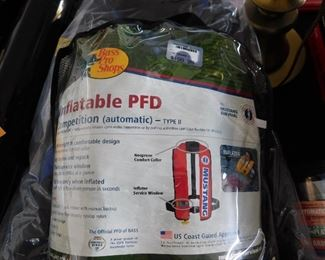 Bass Pro shop Inflatable PFD device, type II. Brand new. Never even out of the packaging. Note the $199 price tag. We have four.