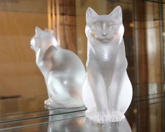 Large Lalique cat.