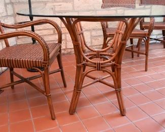 Rattan Dining Table with Glass Top & 4 Chairs