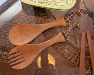 Wooden Salad Servers with Giraffe Handles