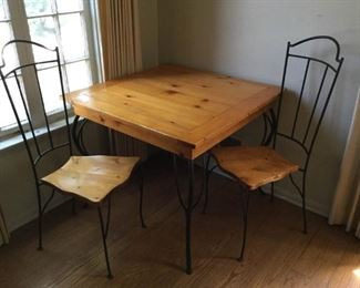 Solid Pine & Wrought Iron Table & Chairs 3 Piece https://ctbids.com/#!/description/share/209641