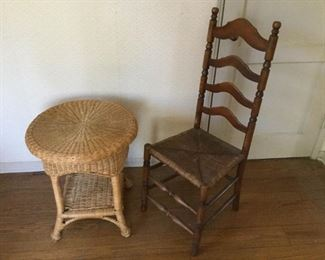 Vintage Ladder Back Chair & Wicker Table (2Pcs) https://ctbids.com/#!/description/share/209426