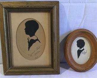 Vintage 1933 & 1961 Silhouette Art 2 Piece          https://ctbids.com/#!/description/share/209441