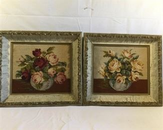 Antique/Vintage Needlepoint Roses Framed 2 Piece  https://ctbids.com/#!/description/share/209443
