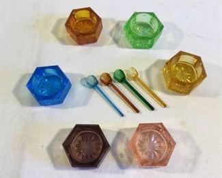 Vintage Colored Glass Salt Cellars (10Pcs) https://ctbids.com/#!/description/share/209653