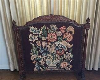 Antique Wood and Needlepoint Fire Screen https://ctbids.com/#!/description/share/209775