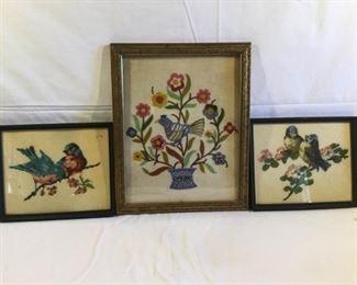 Vintage Needlepoint & Embroidery Bird Art Framed 3 Piece https://ctbids.com/#!/description/share/209461
