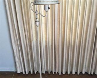 Vintage Toleware Floor Lamp with Milk Glass Globe #1 https://ctbids.com/#!/description/share/209782
