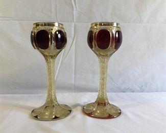 Antique Moser Crystal Goblets 2 Piece Set https://ctbids.com/#!/description/share/209658