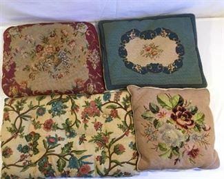 Antique & Vintage Needlepoint & Embroidery Pillows 4 Piece https://ctbids.com/#!/description/share/209471