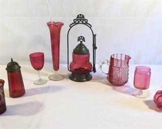 Vintage Red Glass Collection 10 Piece  https://ctbids.com/#!/description/share/209662