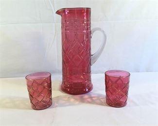 MCM Cranberry Glass Cocktail Pitcher w/ Lowball Glasses 3 Pieces https://ctbids.com/#!/description/share/209664