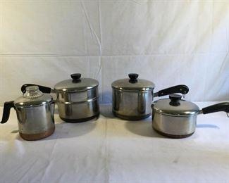 Revere Ware Cookware Copper Clad Stainless Steel 4 Pieces https://ctbids.com/#!/description/share/209728