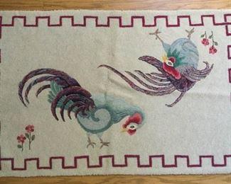 Handmade Vintage Rooster Rug https://ctbids.com/#!/description/share/209615