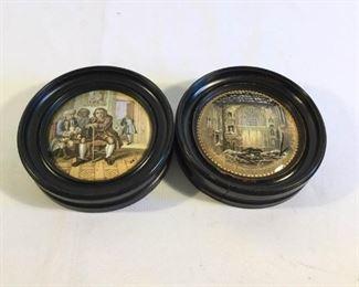 Antique 19th Century Prattware Pot Lids English 2 Piece     https://ctbids.com/#!/description/share/209679