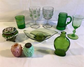 Vintage Dr. Fisch's Bitters Bottle & green glass set (10Pcs)   https://ctbids.com/#!/description/share/209802