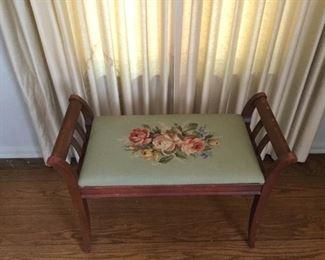 Antique Wood and Needlepoint Bench  https://ctbids.com/#!/description/share/209740