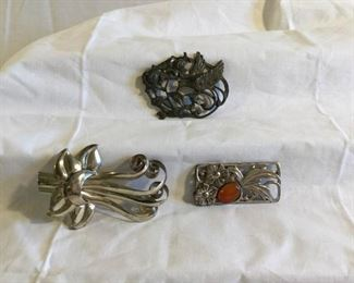 Art Nouveau Style Sterling Brooches 3 Pieces https://ctbids.com/#!/description/share/209746