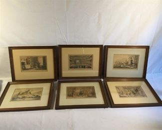 Antique Hand Colored Etching Dr. Syntax by Thomas Rowlandson 6 Pieces https://ctbids.com/#!/description/share/209693