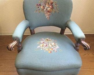 Antique Needlepoint & Wood Chair https://ctbids.com/#!/description/share/209633