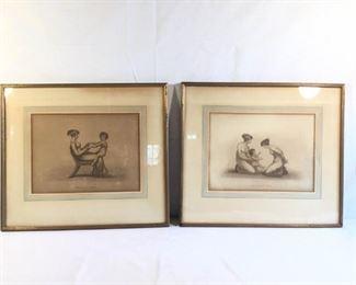 Antique 1820's Sepia Engravings Mother and Child 2 pieces         https://ctbids.com/#!/description/share/209696