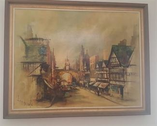 """Ben Maile  Canvas Signed Print  """"The Eastgate Clock"""", Chester"""