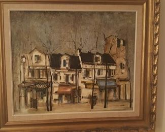 """""""MAISON CATHERINE"""" ACRYLIC on CANVAS PAINTING by FRENCH ARTIST GEORGES DAMIN"""