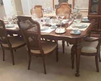 PROVENCIAL FRENCH DINING TABLE & 6 CANE BACK CHAIRS