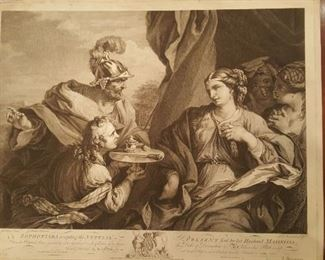 "1764 Boydell engraving of Luca Giordano painting ""SOPHIA ACCEPTING THE NUPTIAL PRESENT"""
