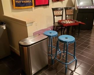 62 Stool and Trash Can