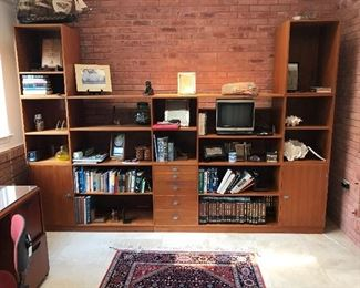 Danish Modern modular/cubes/ stacking book case - stacking units so you can adjust the configuration.  Not mounted to wall