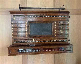 Antique pool room score board