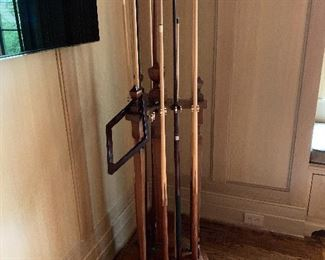 Antique pool stick stand