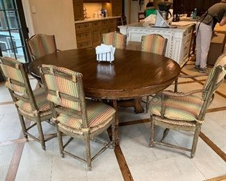 Woodland table  Six French chairs