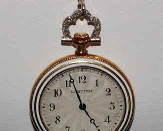 Gold Cartier Diamond Pendant Watch w/ Gold Diamond Chain