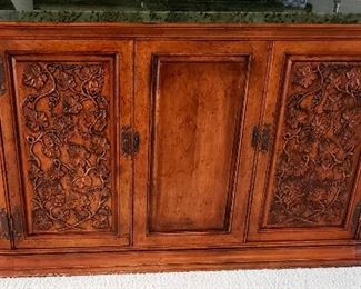 Oval marble top credenza