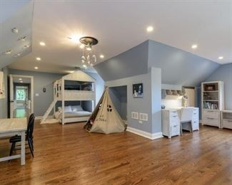 Play tent, play table, Desk with chair.  Cabin bunk bed, artwork, decorative shelving.